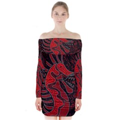 Red dragon Long Sleeve Off Shoulder Dress by Valentinaart