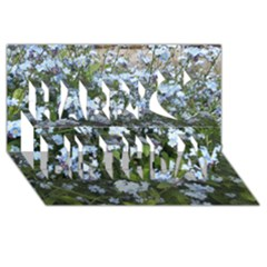 Blue Forget Me Not Flowers Happy Birthday 3d Greeting Card (8x4)