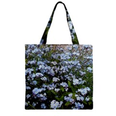 Blue Forget Me Not Flowers Zipper Grocery Tote Bag by picsaspassion
