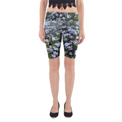 Blue Forget-me-not flowers Yoga Cropped Leggings by picsaspassion