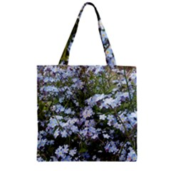 Little Blue Forget Me Not Flowers Zipper Grocery Tote Bag by picsaspassion