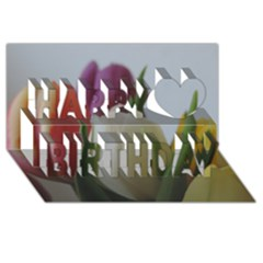Colored By Tulips Happy Birthday 3d Greeting Card (8x4) by picsaspassion