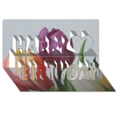 Tulip Spring Flowers Happy Birthday 3d Greeting Card (8x4)