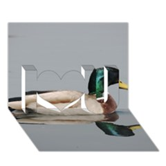 Wild Duck Swimming In Lake I Love You 3d Greeting Card (7x5)