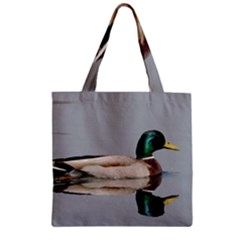 Wild Duck Swimming In Lake Zipper Grocery Tote Bag by picsaspassion