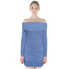 Blue color Long Sleeve Off Shoulder Dress by picsaspassion