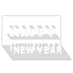 White Color Design Happy New Year 3d Greeting Card (8x4) by picsaspassion