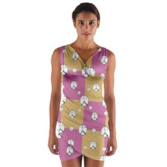 Symbol Peace Drawing Pattern  Wrap Front Bodycon Dress by dflcprintsclothing