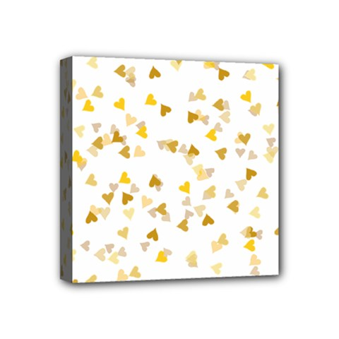 Gold Hearts Confetti Mini Canvas 4  X 4  by theimagezone