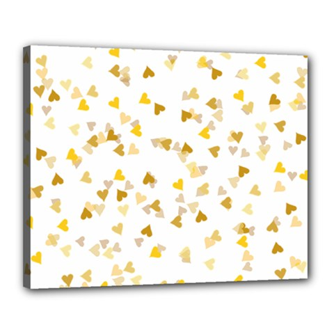 Gold Hearts Confetti Canvas 20  X 16  by theimagezone