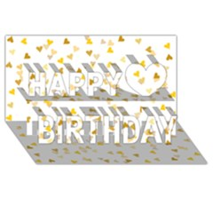 Gold Hearts Confetti Happy Birthday 3d Greeting Card (8x4) by theimagezone