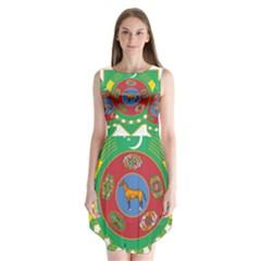 National Emblem Of Turkmenistan  Sleeveless Chiffon Dress