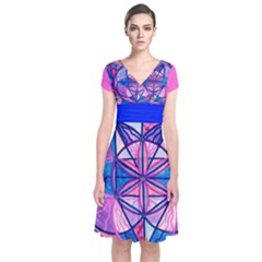 Feminine Interconnectedness - Short Sleeve Front Wrap Dress by tealswan