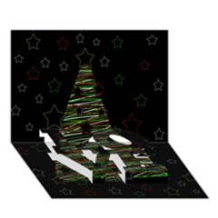 Xmas Tree 2 Love Bottom 3d Greeting Card (7x5)
