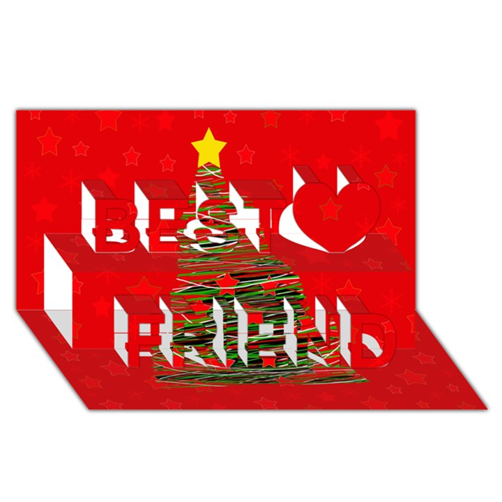 Xmas tree 3 Best Friends 3D Greeting Card (8x4)