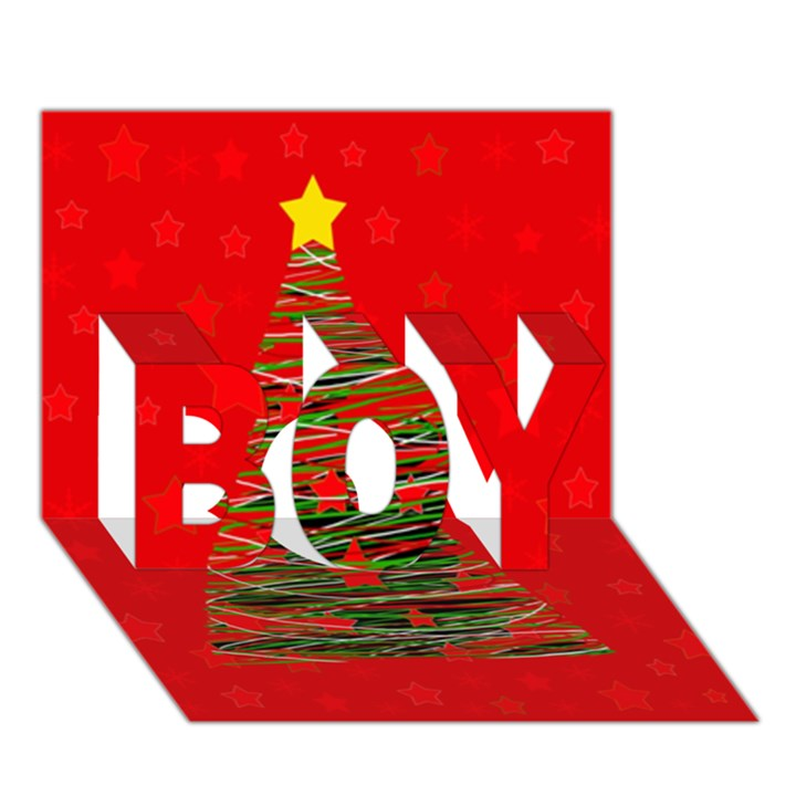 Xmas tree 3 BOY 3D Greeting Card (7x5)