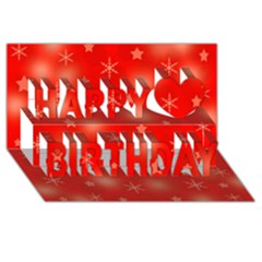 Red Xmas Desing Happy Birthday 3d Greeting Card (8x4) by Valentinaart