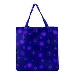 Blue Xmas Design Grocery Tote Bag by Valentinaart