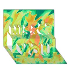 Green And Orange Abstraction Miss You 3d Greeting Card (7x5) by Valentinaart