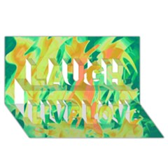 Green And Orange Abstraction Laugh Live Love 3d Greeting Card (8x4) by Valentinaart