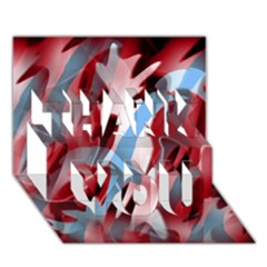 Blue And Red Smoke Thank You 3d Greeting Card (7x5) by Valentinaart