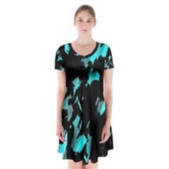 Painter Was Here   Cyan Short Sleeve V Neck Flare Dress by Valentinaart