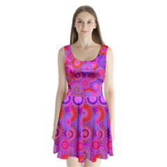 Funky Flowers C Split Back Mini Dress  by MoreColorsinLife