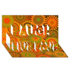 Funky Flowers D Laugh Live Love 3d Greeting Card (8x4)
