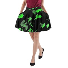 Painter Was Here   Green A Line Pocket Skirt by Valentinaart