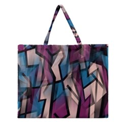Purple High Art Zipper Large Tote Bag by Valentinaart