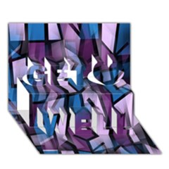 Purple Decorative Abstract Art Get Well 3d Greeting Card (7x5)