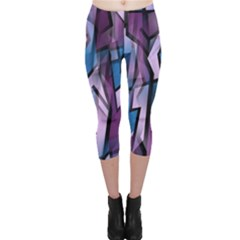 Purple Decorative Abstract Art Capri Leggings  by Valentinaart