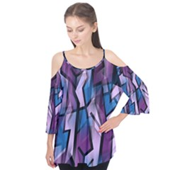 Purple Decorative Abstract Art Flutter Tees