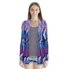 Purple decorative abstract art Drape Collar Cardigan by Valentinaart