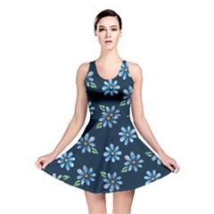 Retro Blue Daisy Flowers Pattern Reversible Skater Dress