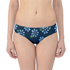 Retro Blue Daisy Flowers Pattern Hipster Bikini Bottoms
