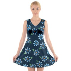 Retro Blue Daisy Flowers Pattern V Neck Sleeveless Skater Dress