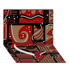 Red And Brown Abstraction Heart Bottom 3d Greeting Card (7x5) by Valentinaart