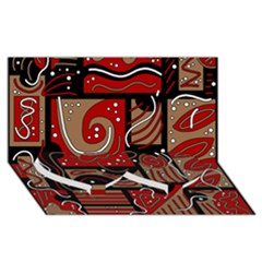 Red And Brown Abstraction Twin Heart Bottom 3d Greeting Card (8x4) by Valentinaart