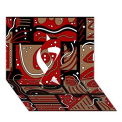Red And Brown Abstraction Ribbon 3d Greeting Card (7x5) by Valentinaart
