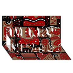 Red And Brown Abstraction Merry Xmas 3d Greeting Card (8x4) by Valentinaart