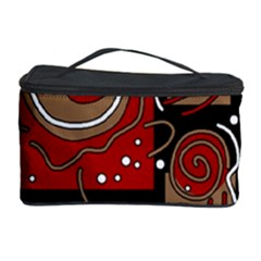 Red And Brown Abstraction Cosmetic Storage Case by Valentinaart