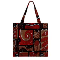 Red And Brown Abstraction Zipper Grocery Tote Bag by Valentinaart