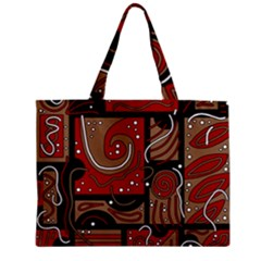 Red And Brown Abstraction Zipper Mini Tote Bag by Valentinaart