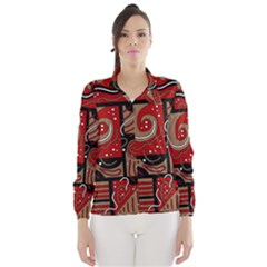 Red and brown abstraction Wind Breaker (Women) by Valentinaart