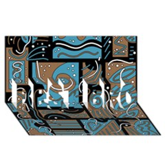 Blue And Brown Abstraction Best Bro 3d Greeting Card (8x4)