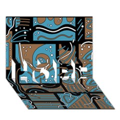Blue And Brown Abstraction Hope 3d Greeting Card (7x5) by Valentinaart