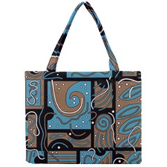 Blue And Brown Abstraction Mini Tote Bag by Valentinaart