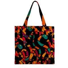 Colorful Snakes Zipper Grocery Tote Bag by Valentinaart