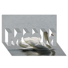 Swimming White Swan Mom 3d Greeting Card (8x4) by picsaspassion